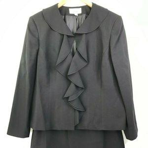 Le Suit Black 2 Piece Skirt Suit Lined Ruffle Fron